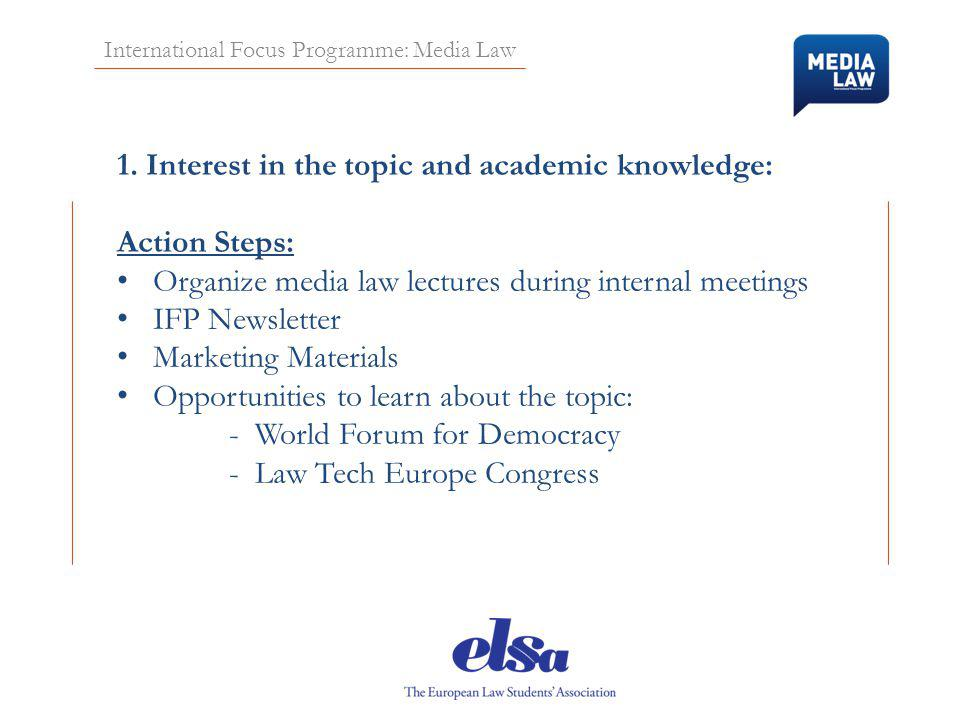 International Focus Programme: Media Law 1.