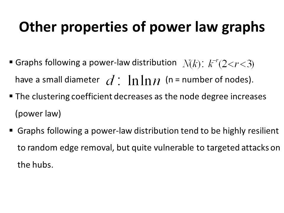 Other properties of power law graphs Graphs following a power-law distribution have a small diameter (n = number of nodes).