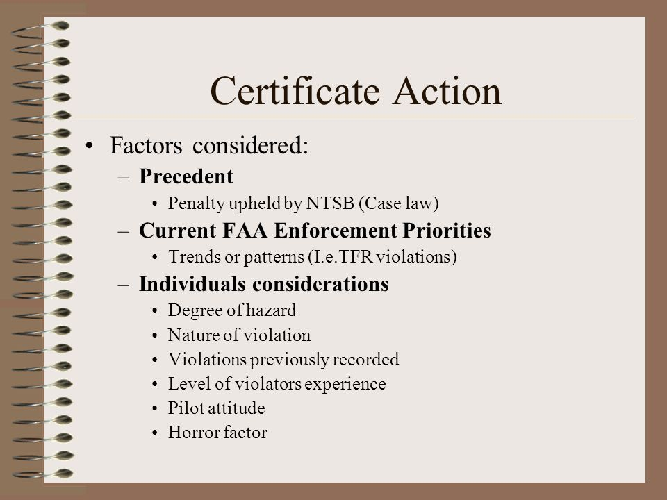 Factors considered: –Precedent Penalty upheld by NTSB (Case law) –Current FAA Enforcement Priorities Trends or patterns (I.e.TFR violations) –Individu