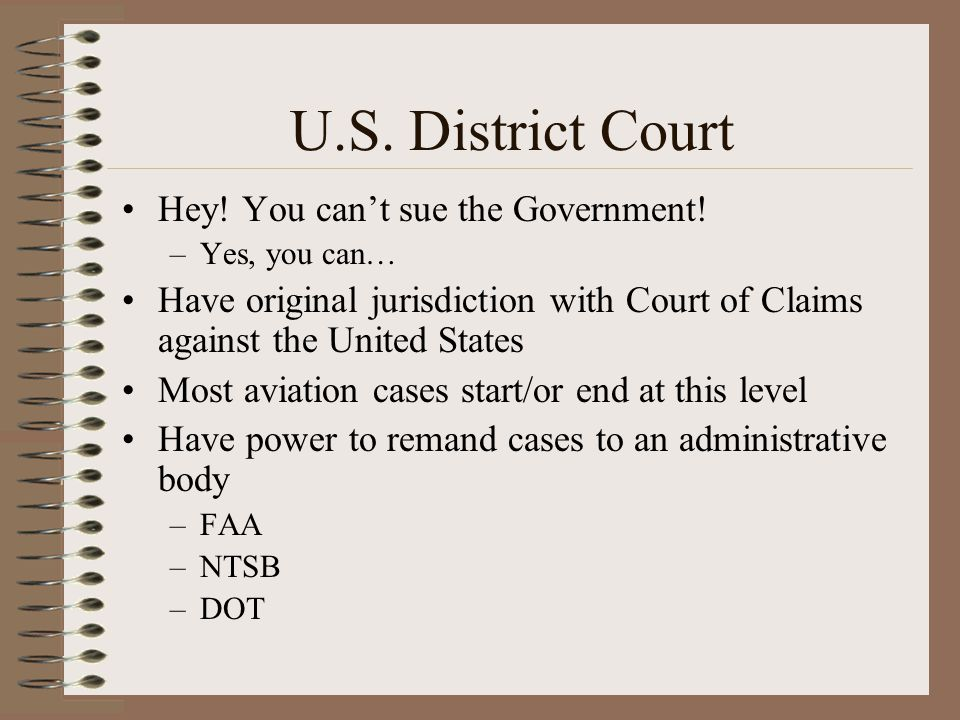 U.S. District Court Hey! You cant sue the Government! –Yes, you can… Have original jurisdiction with Court of Claims against the United States Most av