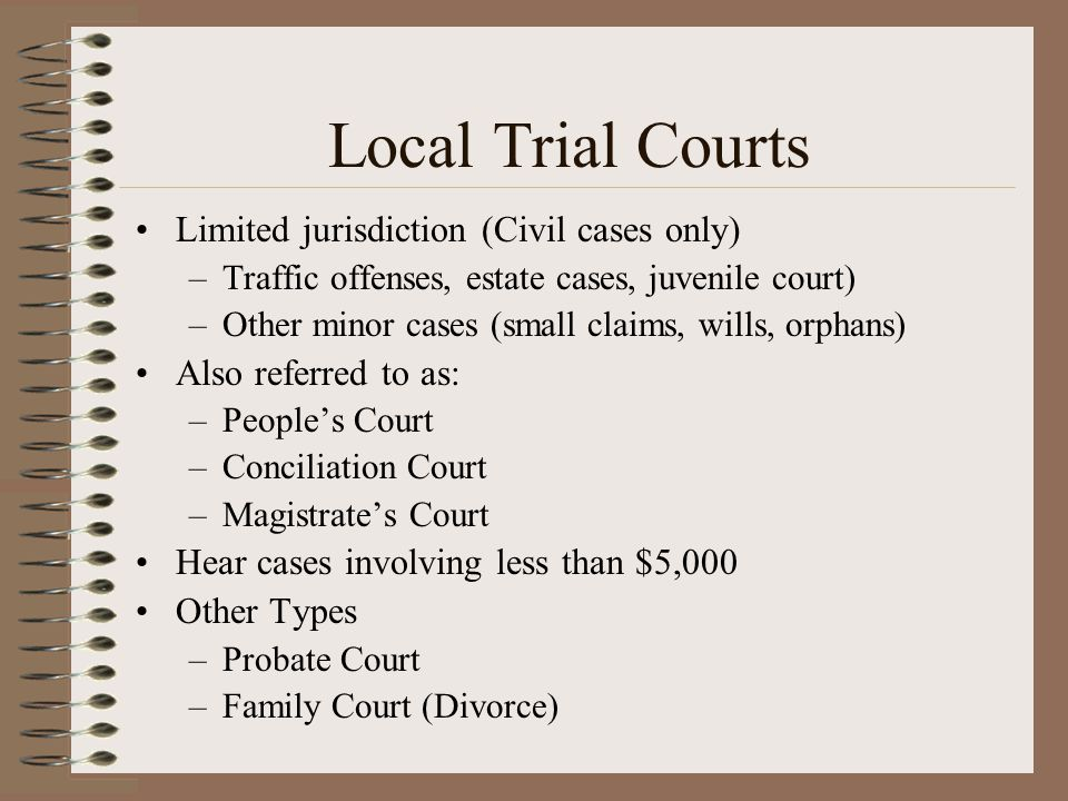 Local Trial Courts Limited jurisdiction (Civil cases only) –Traffic offenses, estate cases, juvenile court) –Other minor cases (small claims, wills, o