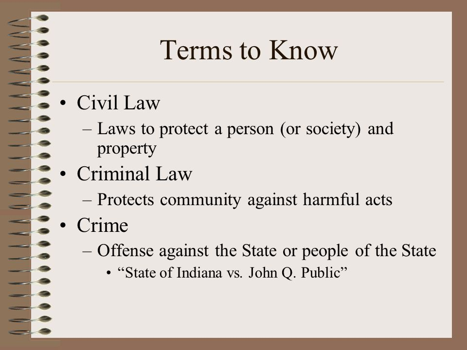 Terms to Know Civil Law –Laws to protect a person (or society) and property Criminal Law –Protects community against harmful acts Crime –Offense again