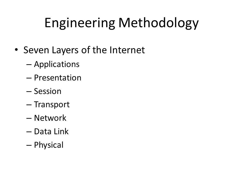 Engineering Methodology Seven Layers of the Internet – Applications – Presentation – Session – Transport – Network – Data Link – Physical