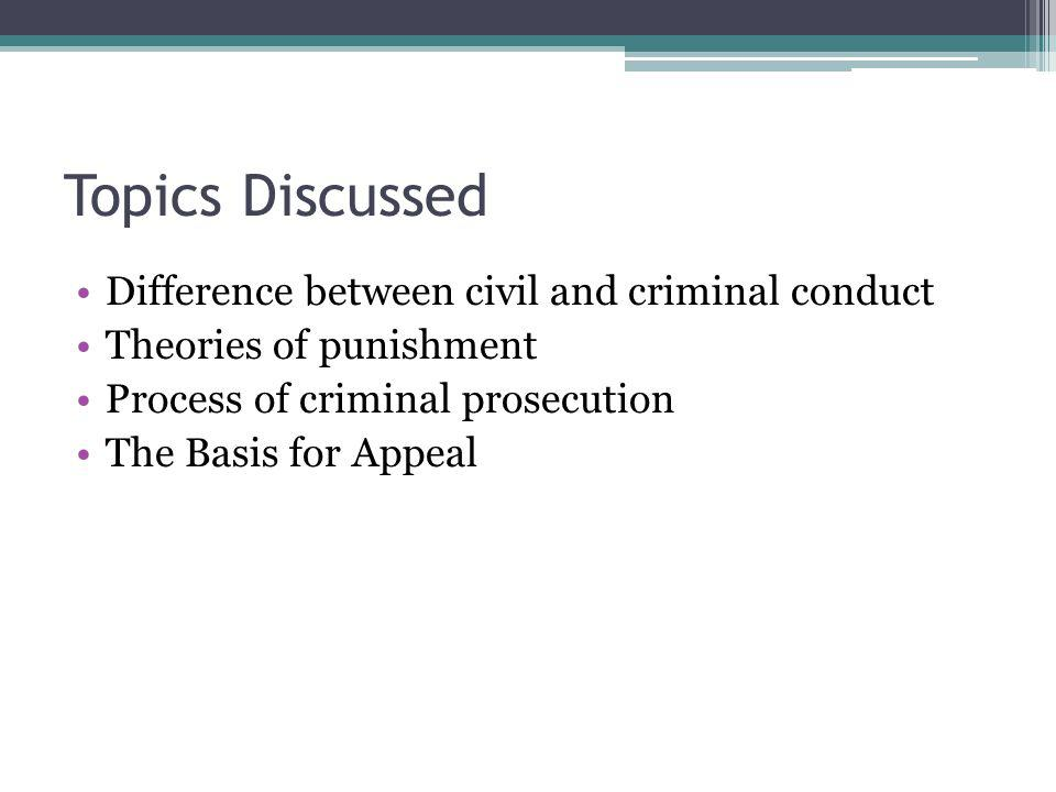 What is the difference between civil and criminal conduct.