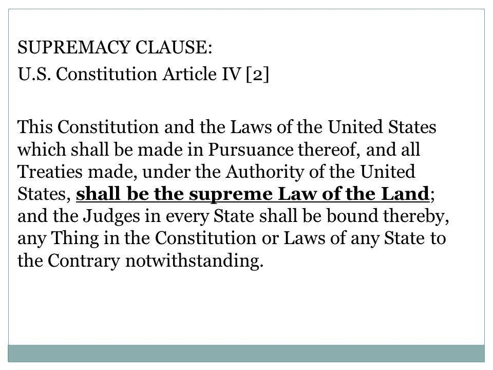 SUPREMACY CLAUSE: U.S.