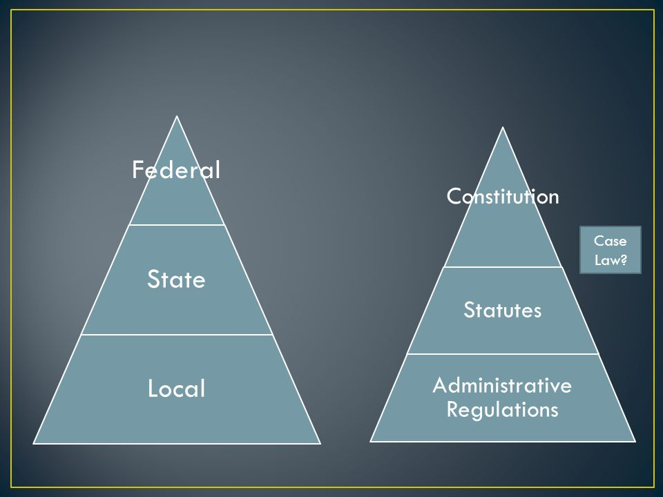 Federal State Local Constitution Statutes Administrative Regulations Case Law?
