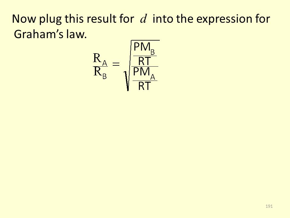 Now plug this result for d into the expression for Grahams law. 191