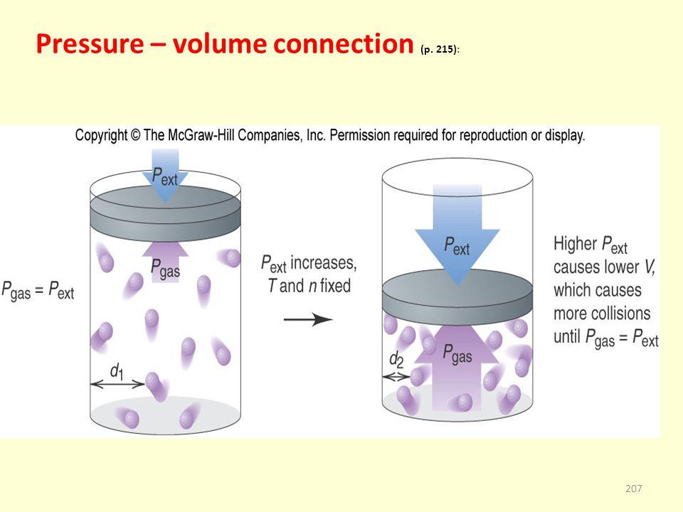 Pressure – volume connection (p. 215): 207