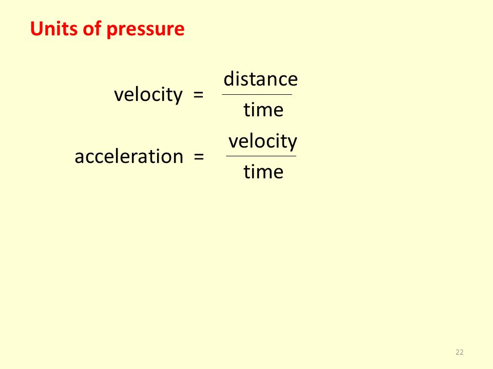 Units of pressure distance velocity = time velocity acceleration = time 22