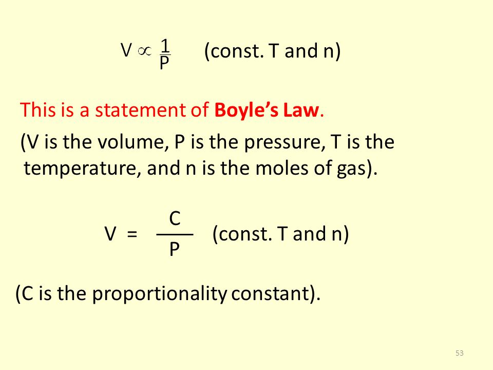 (const. T and n) This is a statement of Boyles Law. (V is the volume, P is the pressure, T is the temperature, and n is the moles of gas). C V = (cons
