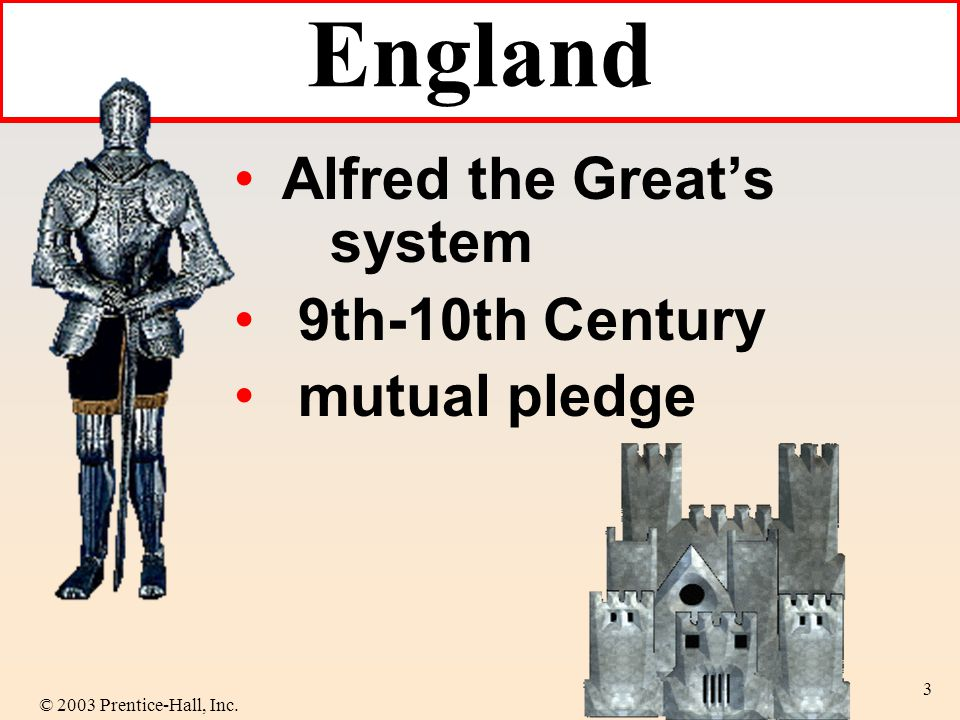 © 2003 Prentice-Hall, Inc. 3 Alfred the Greats system 9th-10th Century mutual pledge England