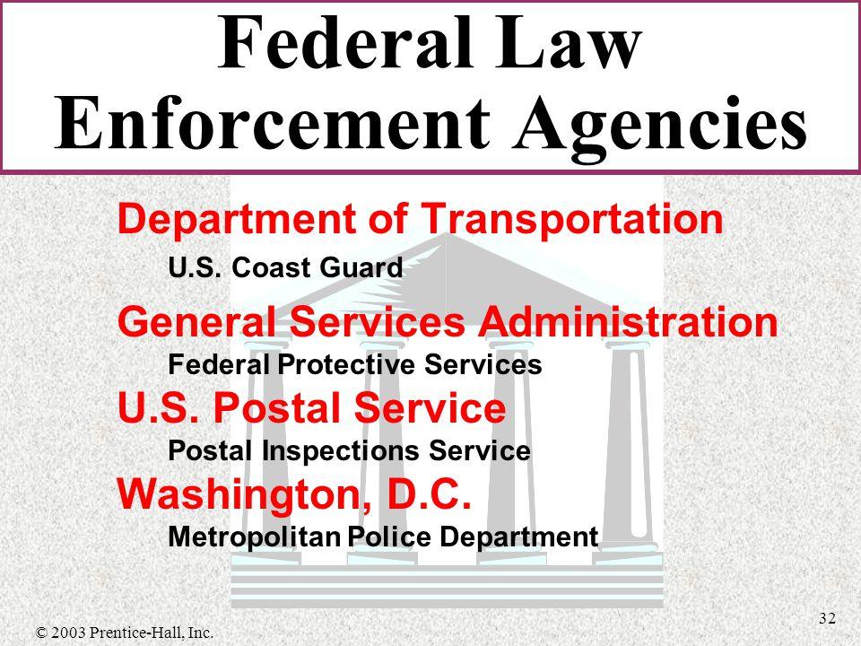 © 2003 Prentice-Hall, Inc. 32 Department of Transportation U.S.