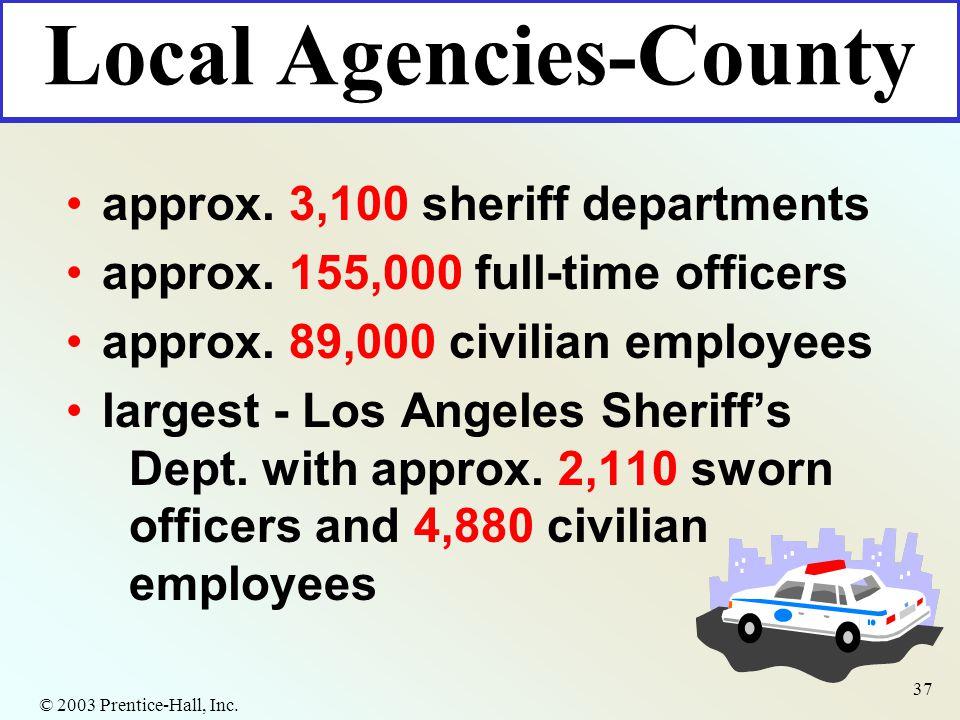 © 2003 Prentice-Hall, Inc. 37 Local Agencies-County approx.