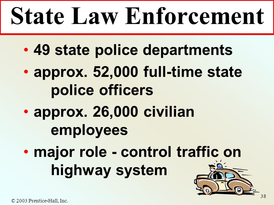 © 2003 Prentice-Hall, Inc. 38 49 state police departments approx.