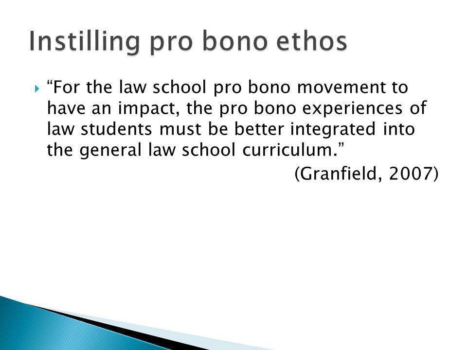 For the law school pro bono movement to have an impact, the pro bono experiences of law students must be better integrated into the general law school