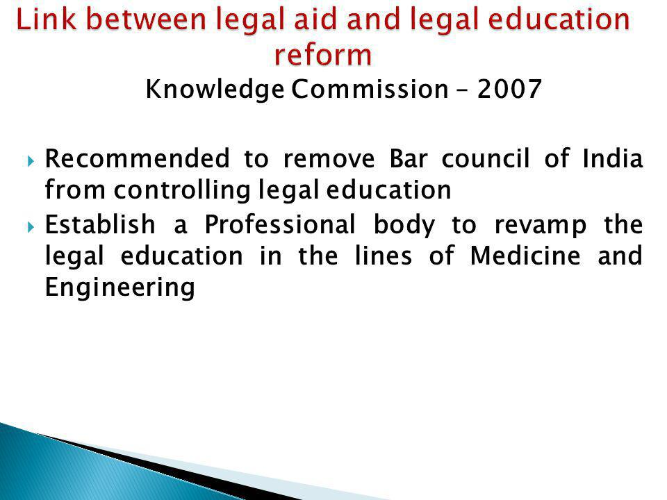 Knowledge Commission – 2007 Recommended to remove Bar council of India from controlling legal education Establish a Professional body to revamp the le
