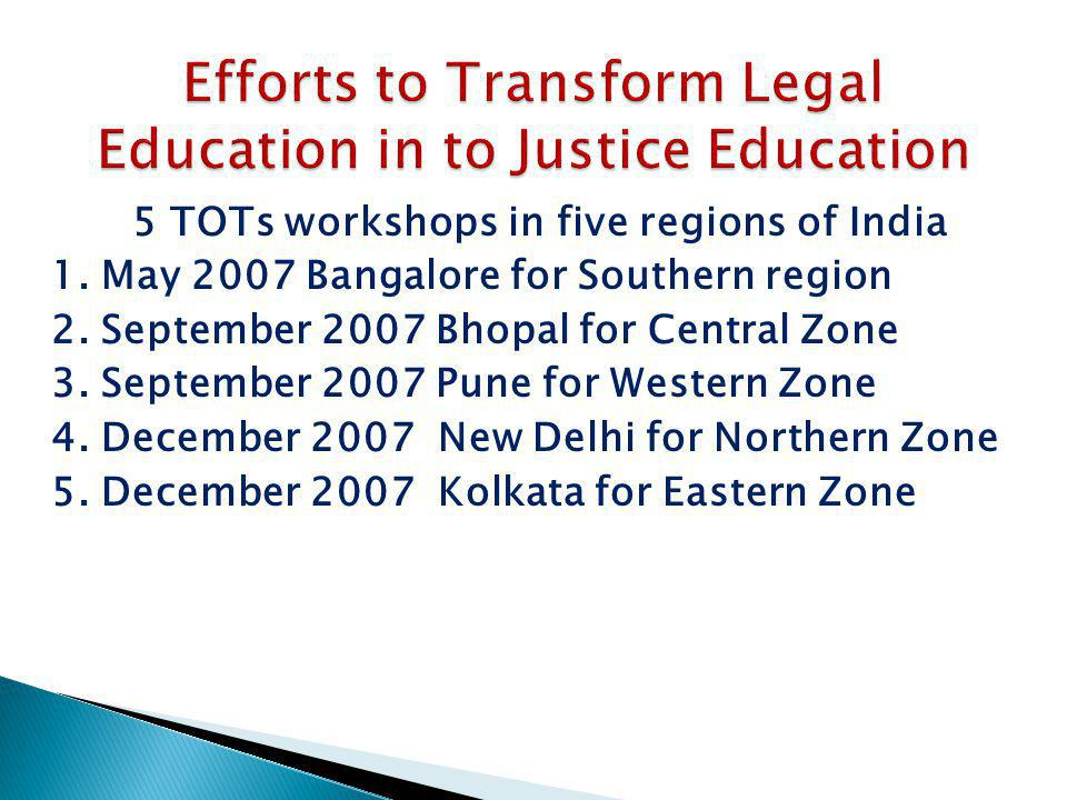 5 TOTs workshops in five regions of India 1. May 2007 Bangalore for Southern region 2. September 2007 Bhopal for Central Zone 3. September 2007 Pune f