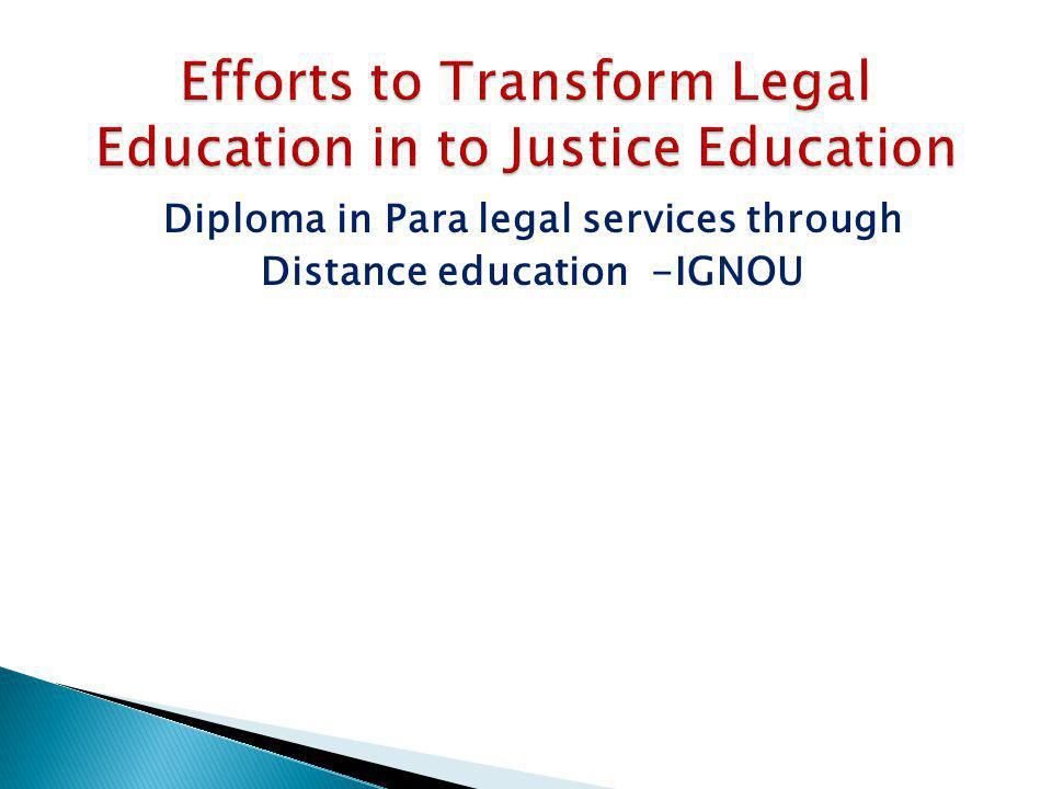 Diploma in Para legal services through Distance education -IGNOU