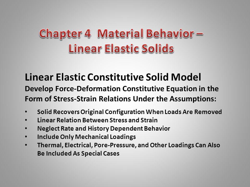 Typical One-Dimensional Stress-Strain Behavior Tensile Sample Steel Cast Iron Aluminum Applicable Region for Linear Elastic Behavior = E