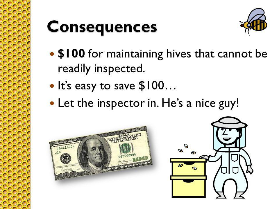 Consequences $100 for maintaining hives that cannot be readily inspected.