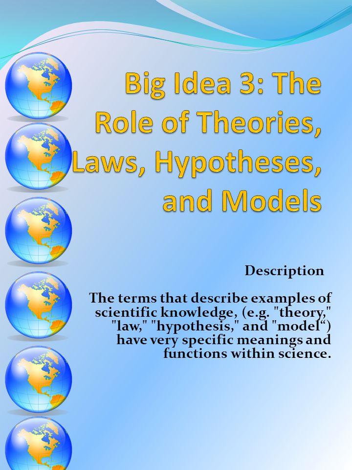 Description The terms that describe examples of scientific knowledge, (e.g.