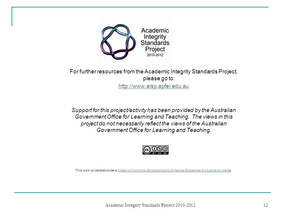 For further resources from the Academic Integrity Standards Project, please go to: http://www.aisp.apfei.edu.au Support for this project/activity has