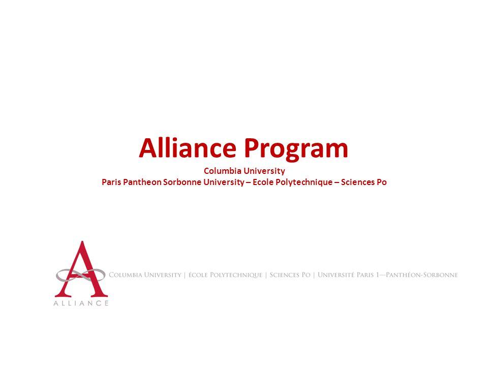 Alliance Program Columbia University Paris Pantheon Sorbonne University – Ecole Polytechnique – Sciences Po