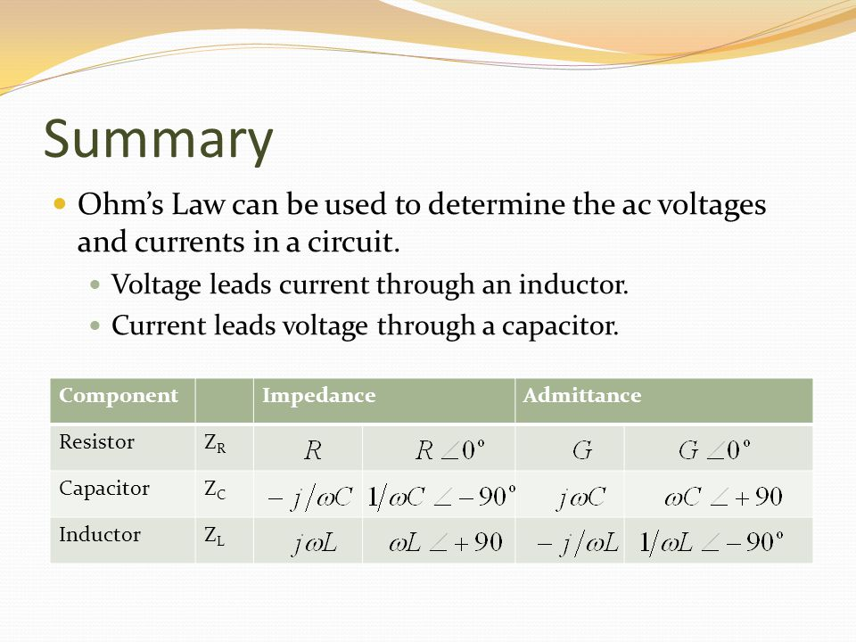 Summary Ohms Law can be used to determine the ac voltages and currents in a circuit. Voltage leads current through an inductor. Current leads voltage