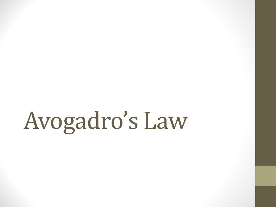 Avogadros Law