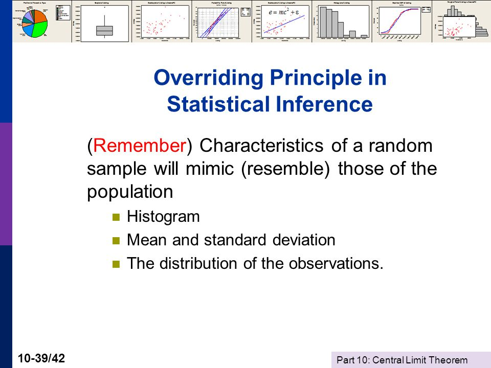 Part 10: Central Limit Theorem 10-39/42 Overriding Principle in Statistical Inference (Remember) Characteristics of a random sample will mimic (resemble) those of the population Histogram Mean and standard deviation The distribution of the observations.