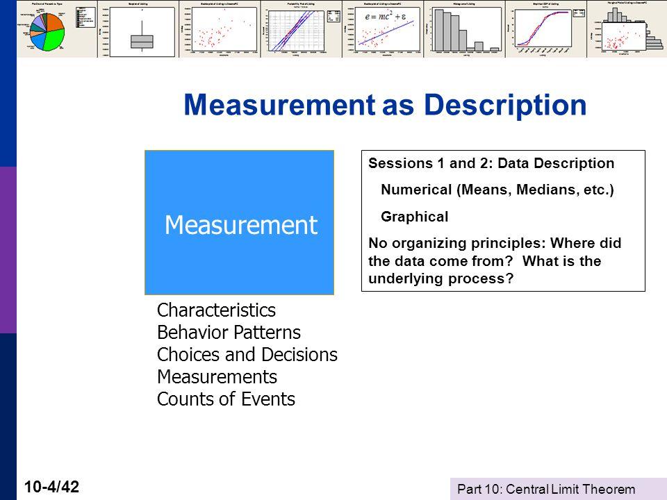 Part 10: Central Limit Theorem 10-5/42 Measurement as Observation - Sampling Population Measurement Models Characteristics Behavior Patterns Choices and Decisions Measurements Counts of Events Random processes.