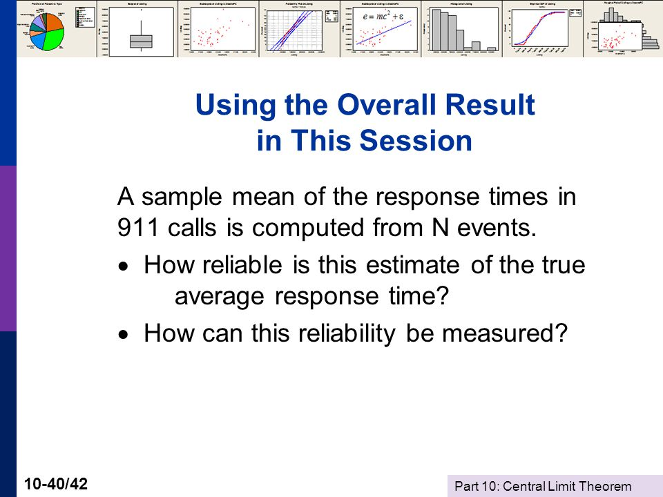 Part 10: Central Limit Theorem 10-40/42 Using the Overall Result in This Session A sample mean of the response times in 911 calls is computed from N events.