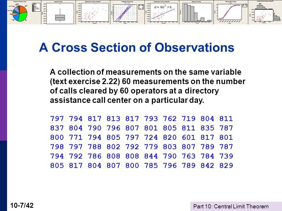 Part 10: Central Limit Theorem 10-7/42 A Cross Section of Observations A collection of measurements on the same variable (text exercise 2.22) 60 measurements on the number of calls cleared by 60 operators at a directory assistance call center on a particular day.