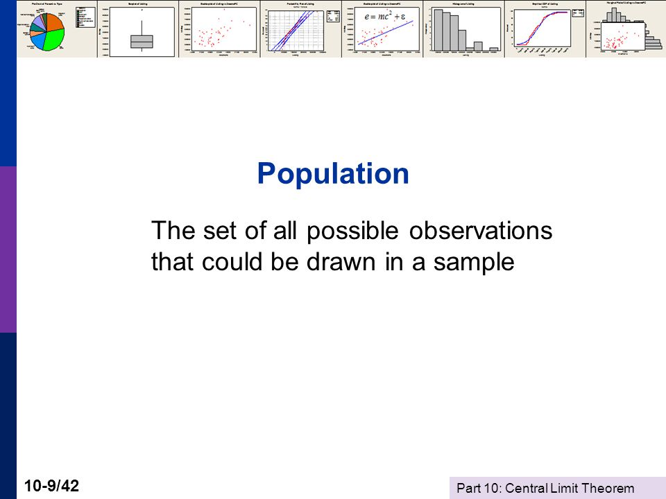 Part 10: Central Limit Theorem 10-9/42 Population The set of all possible observations that could be drawn in a sample