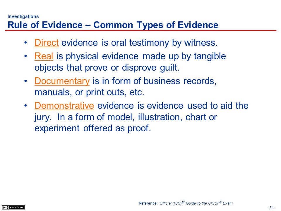 - 31 - Investigations Rule of Evidence – Common Types of Evidence Direct evidence is oral testimony by witness. Real is physical evidence made up by t