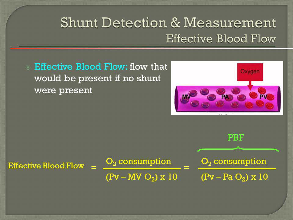 Effective Blood Flow: flow that would be present if no shunt were present Effective Blood Flow O 2 consumption (Pv – MV O 2 ) x 10 = O 2 consumption (