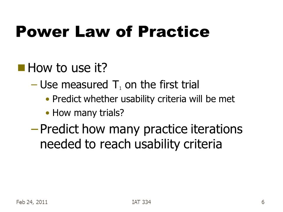 Power Law of Practice How to use it.