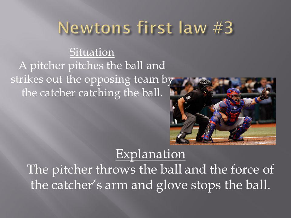 Situation A pitcher pitches the ball and strikes out the opposing team by the catcher catching the ball.