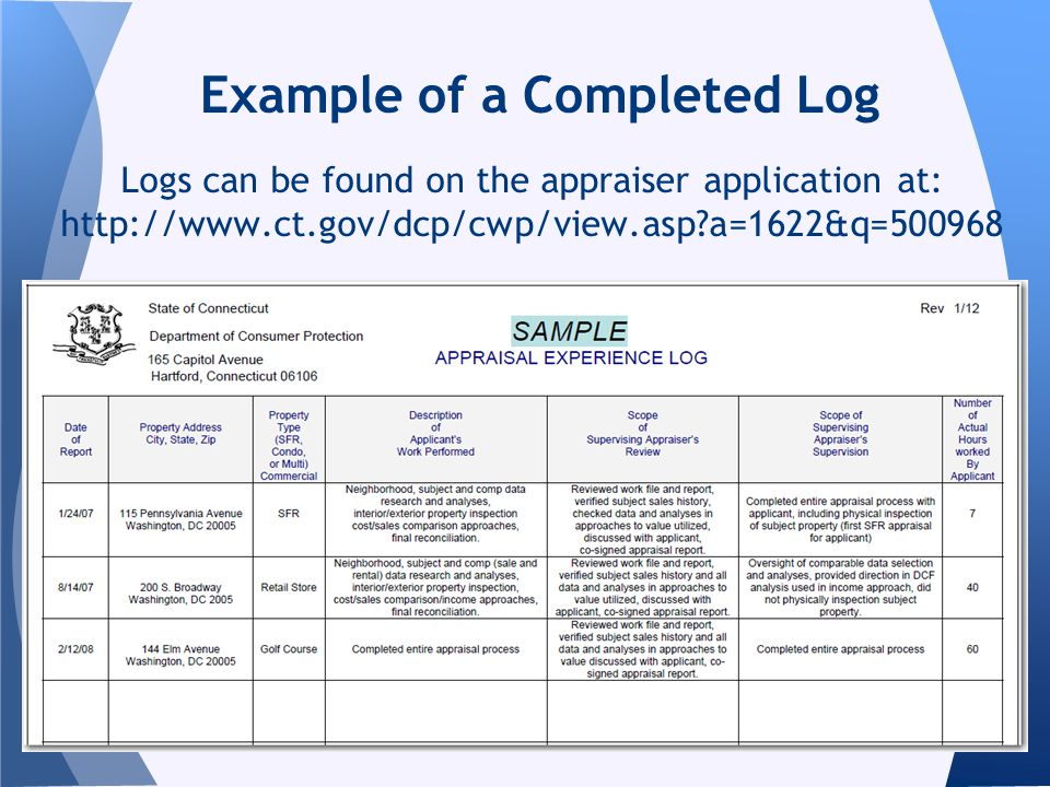 Example of a Completed Log Logs can be found on the appraiser application at: http://www.ct.gov/dcp/cwp/view.asp?a=1622&q=500968