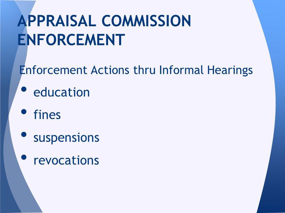 Enforcement Actions thru Informal Hearings education fines suspensions revocations APPRAISAL COMMISSION ENFORCEMENT