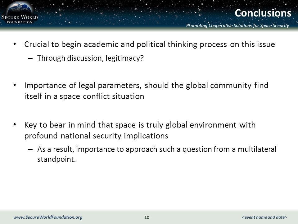Promoting Cooperative Solutions for Space Security 10 www.SecureWorldFoundation.org Conclusions Crucial to begin academic and political thinking process on this issue – Through discussion, legitimacy.