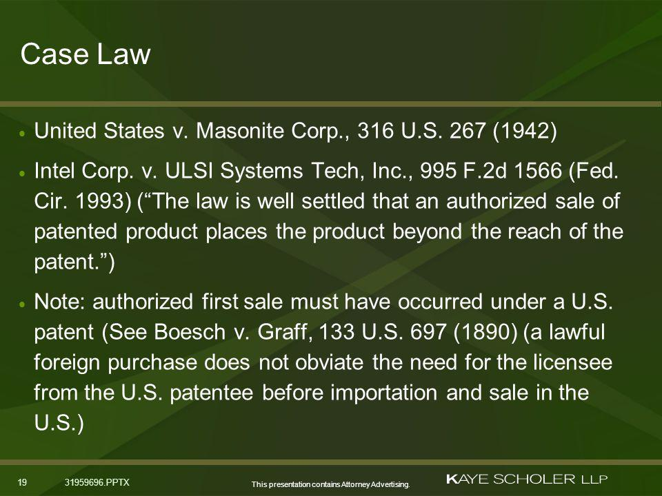 This presentation contains Attorney Advertising. 1931959696.PPTX Case Law United States v.