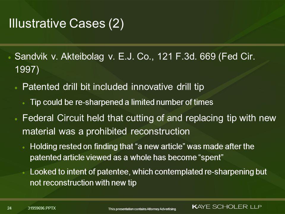 This presentation contains Attorney Advertising. 2431959696.PPTX Illustrative Cases (2) Sandvik v.