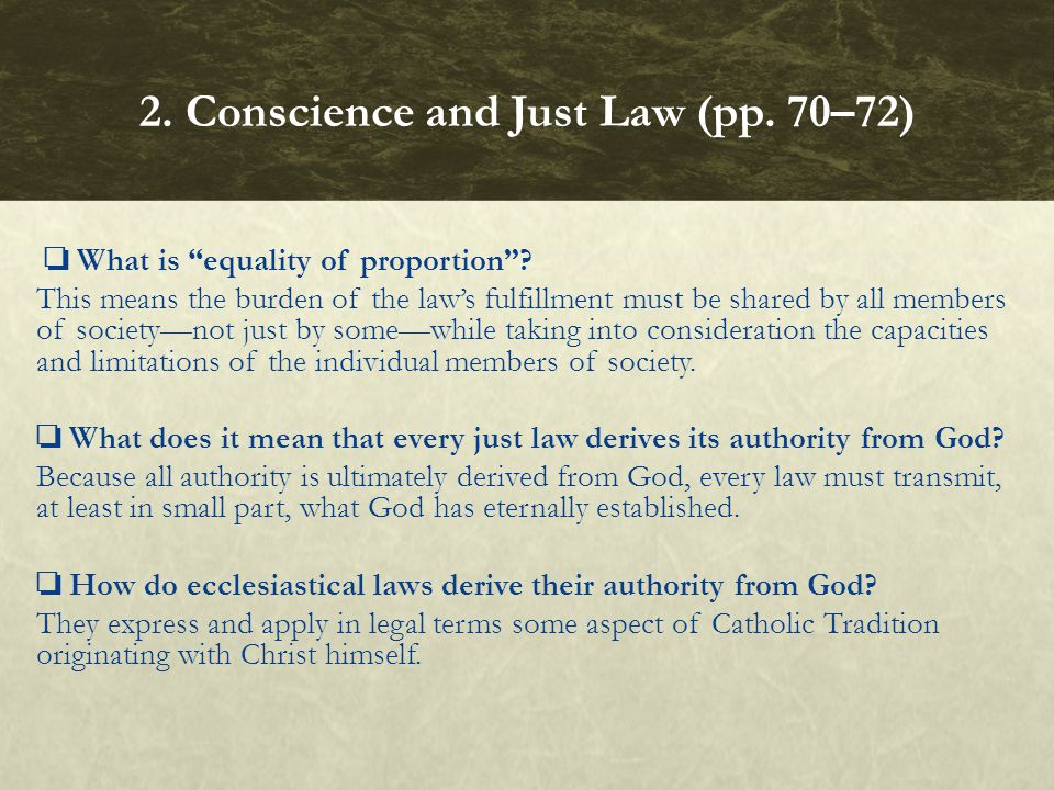 What is equality of proportion? This means the burden of the laws fulfillment must be shared by all members of societynot just by somewhile taking int
