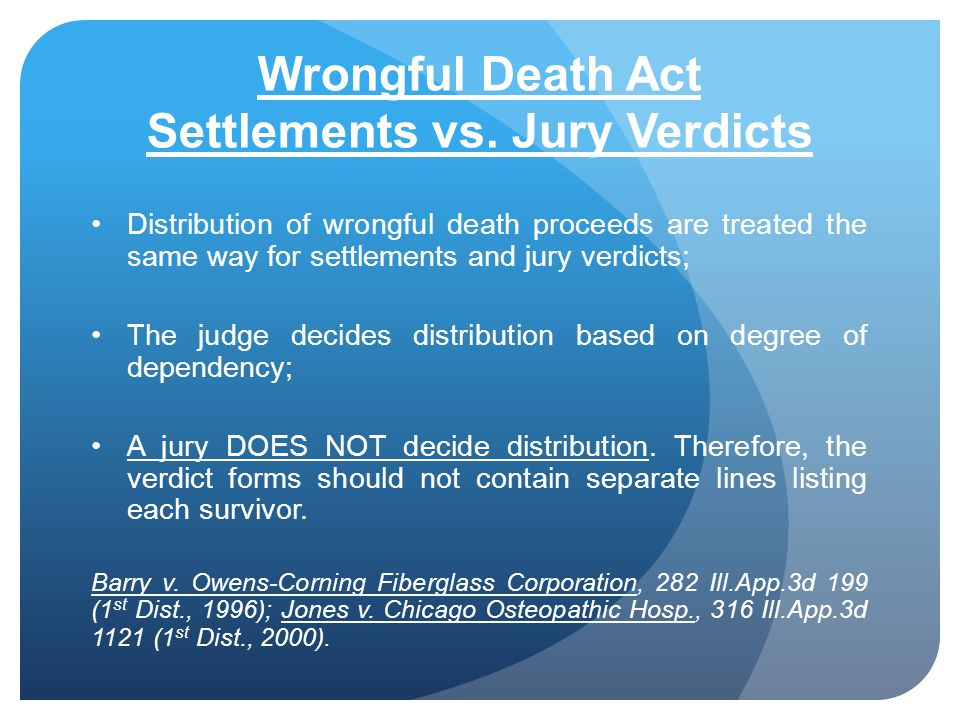 Wrongful Death Act Settlements vs. Jury Verdicts Distribution of wrongful death proceeds are treated the same way for settlements and jury verdicts; T