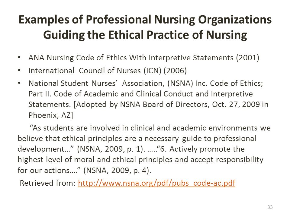 Examples of Professional Nursing Organizations Guiding the Ethical Practice of Nursing ANA Nursing Code of Ethics With Interpretive Statements (2001)