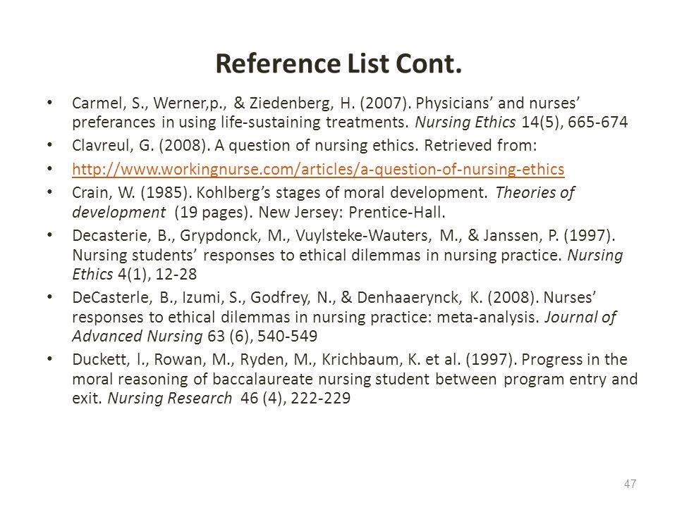 Reference List Cont. Carmel, S., Werner,p., & Ziedenberg, H. (2007). Physicians and nurses preferances in using life-sustaining treatments. Nursing Et