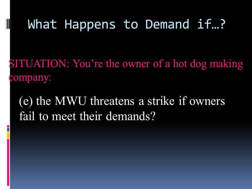 What Happens to Demand if…? SITUATION: Youre the owner of a hot dog making company: (e) the MWU threatens a strike if owners fail to meet their demand
