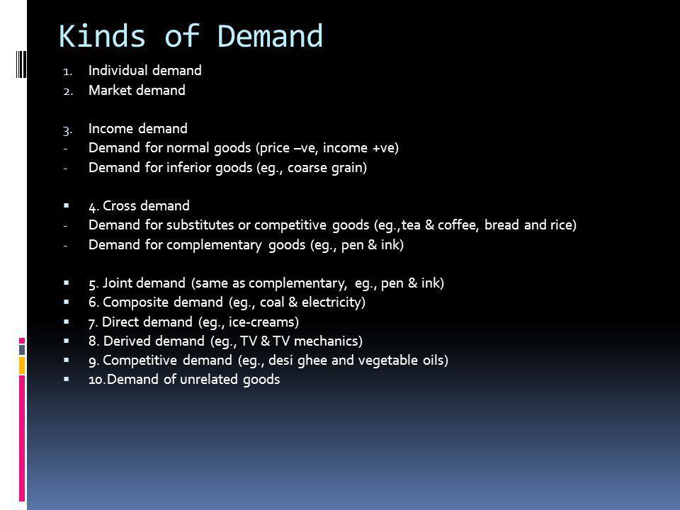 Kinds of Demand 1. Individual demand 2. Market demand 3. Income demand - Demand for normal goods (price –ve, income +ve) - Demand for inferior goods (