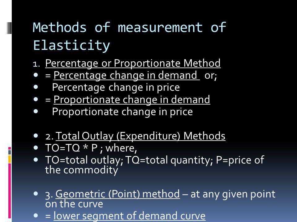 Methods of measurement of Elasticity 1. Percentage or Proportionate Method = Percentage change in demand or; Percentage change in price = Proportionat